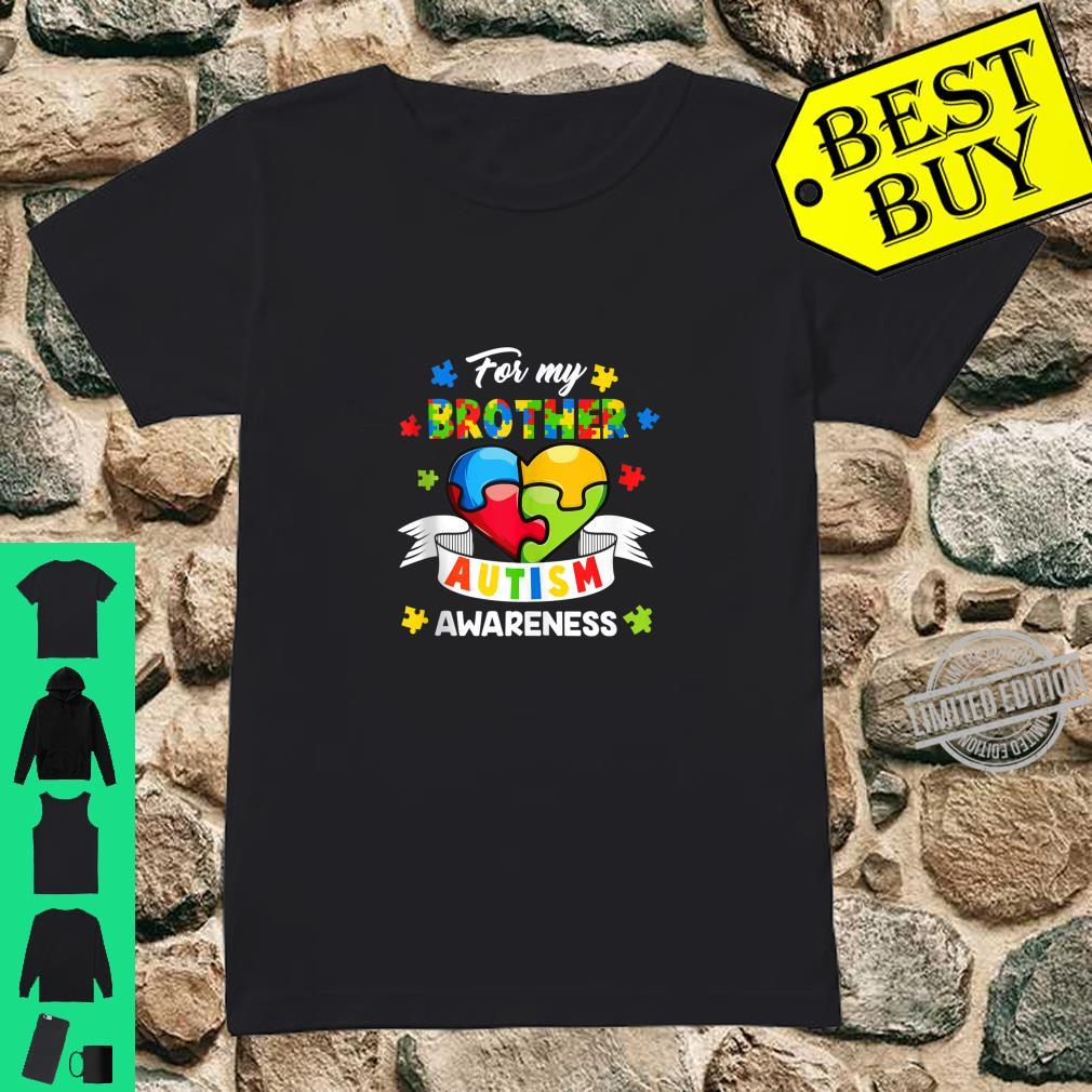 Autism Brother For My Brother Heart Puzzle Autism Awareness Shirt ladies tee
