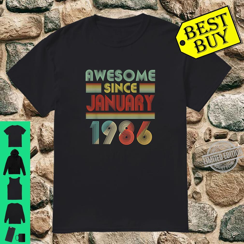 Awesome Since JANUARY 1986 Birthday 34 Years Old 34th Shirt