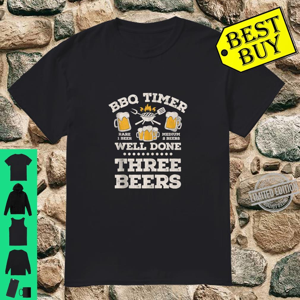 BBQ TIMER WELL DONE THREE BEERS Quote Design Shirt