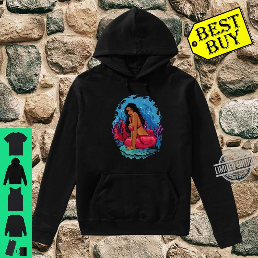 Beautiful Black Mermaid Melanin Queen Seashell Summer Red Shirt hoodie