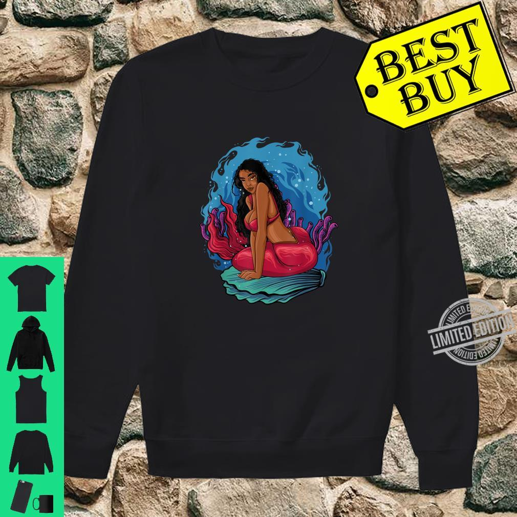 Beautiful Black Mermaid Melanin Queen Seashell Summer Red Shirt sweater