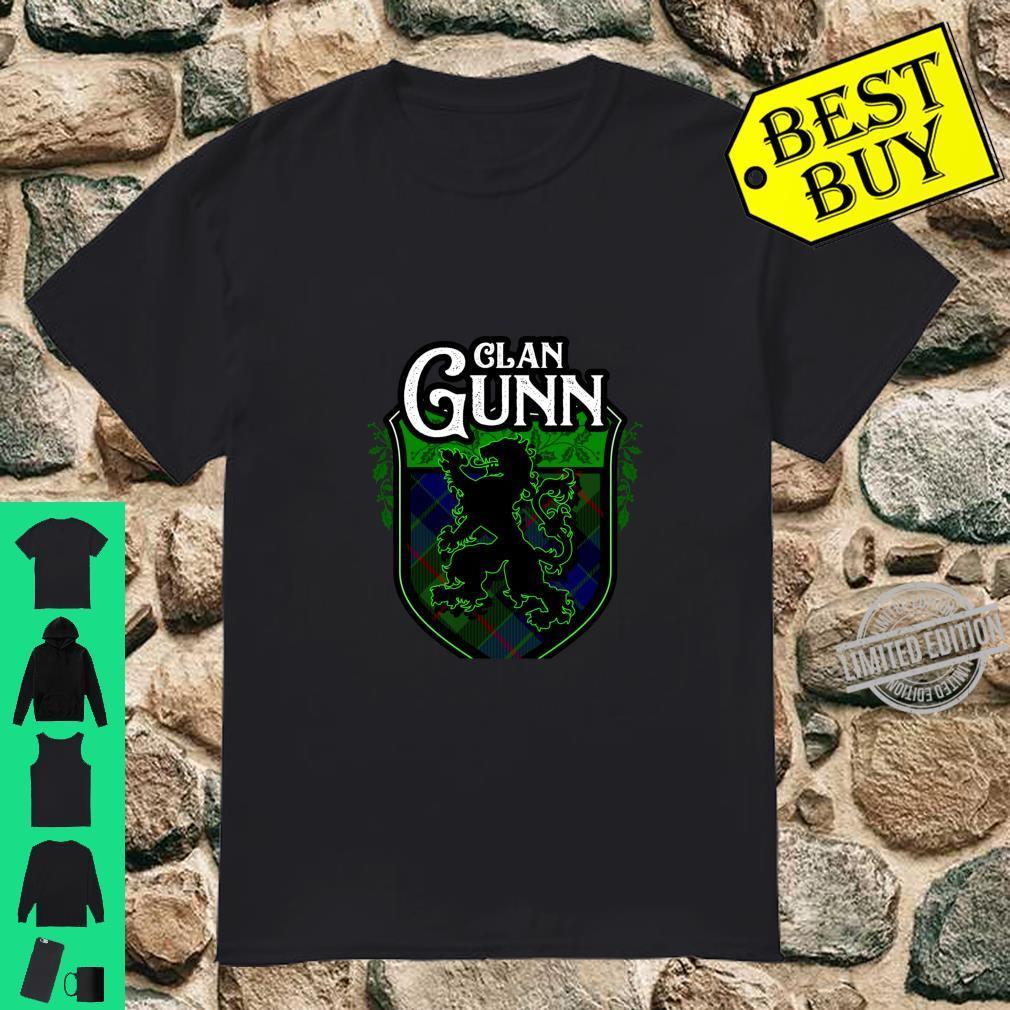 Clan Gunn Surname Scottish Tartan Lion Rampant Crest Shirt