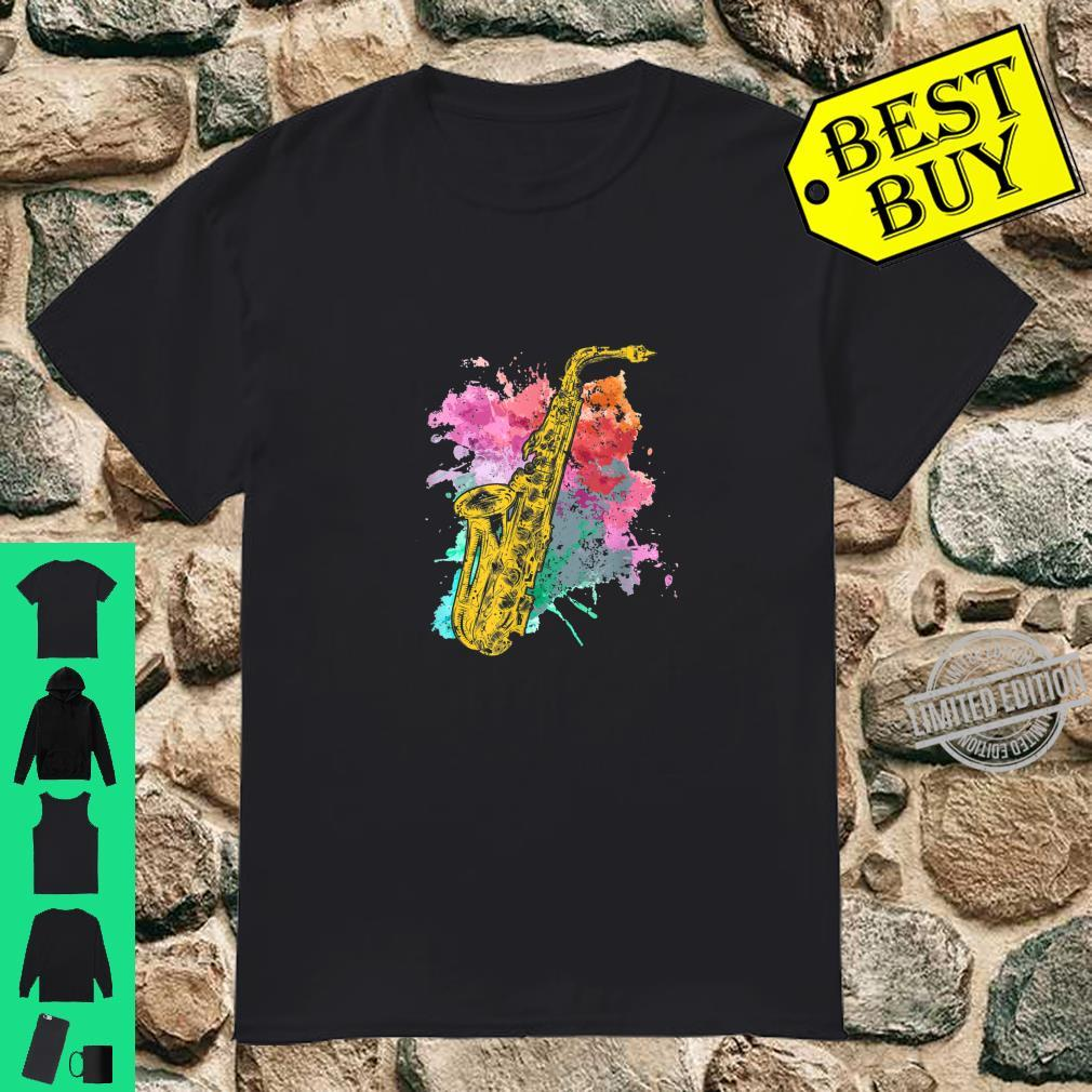 Colorful Distressed Saxophone Shirt