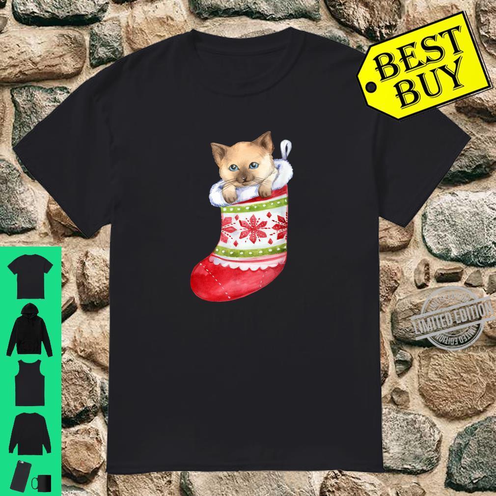Cute Kitten in Stocking Christmas Shirt