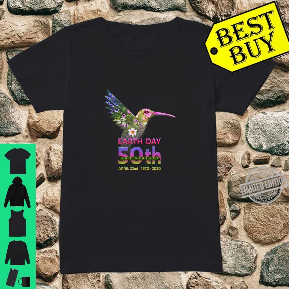 Earth Day 50th Anniversary Hummingbird Silhouette Shirt ladies tee