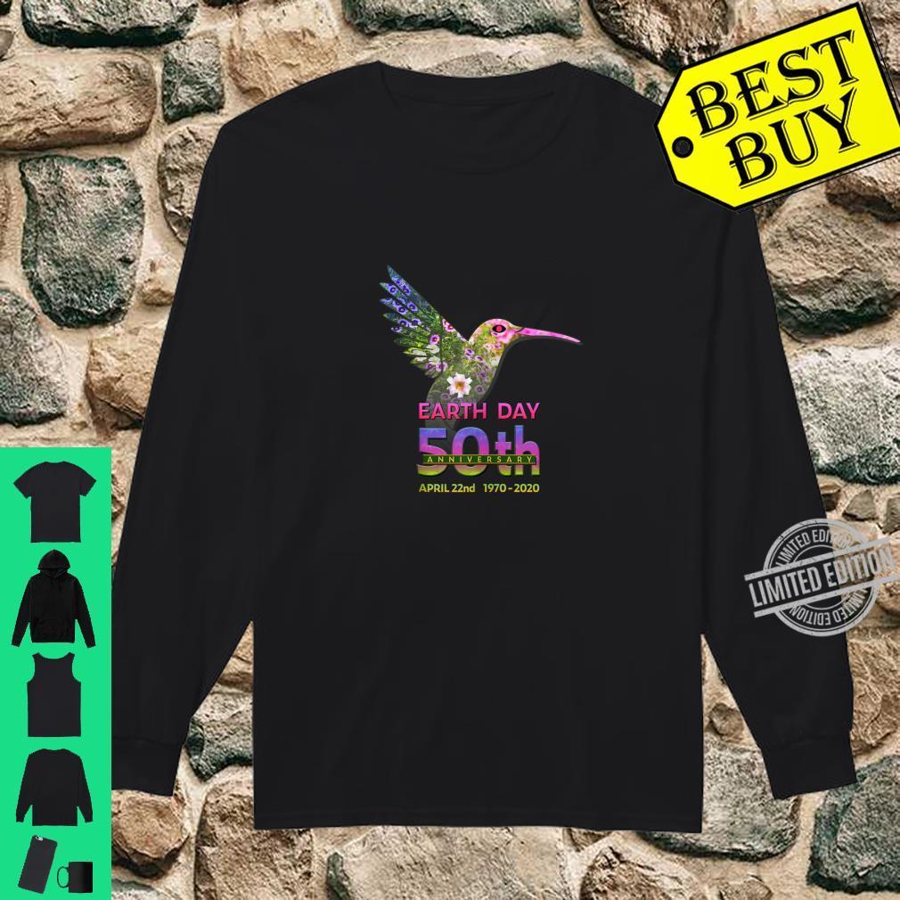 Earth Day 50th Anniversary Hummingbird Silhouette Shirt long sleeved