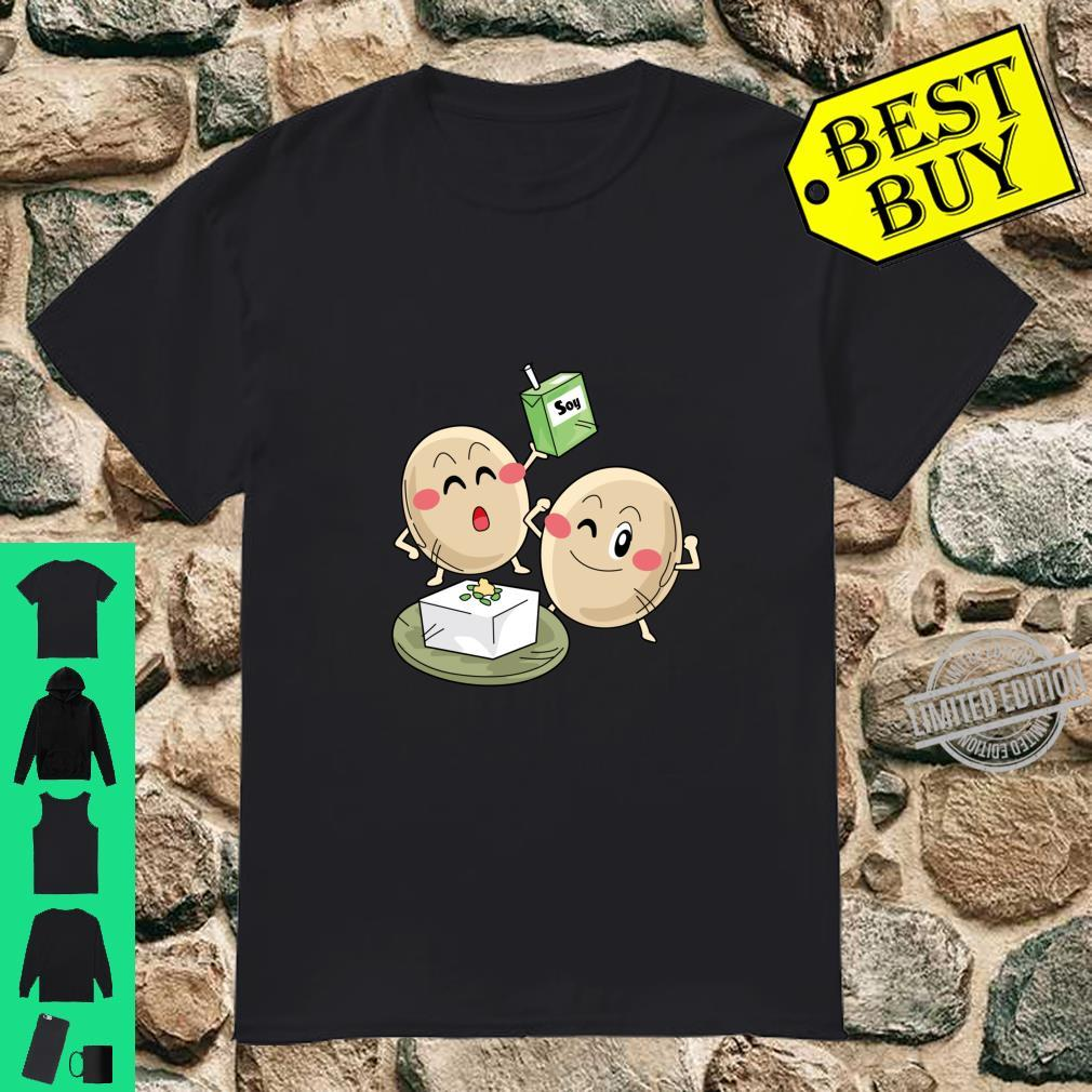 Funny Big Cartoon Soy Beans With Soy Milk Novelty Shirt