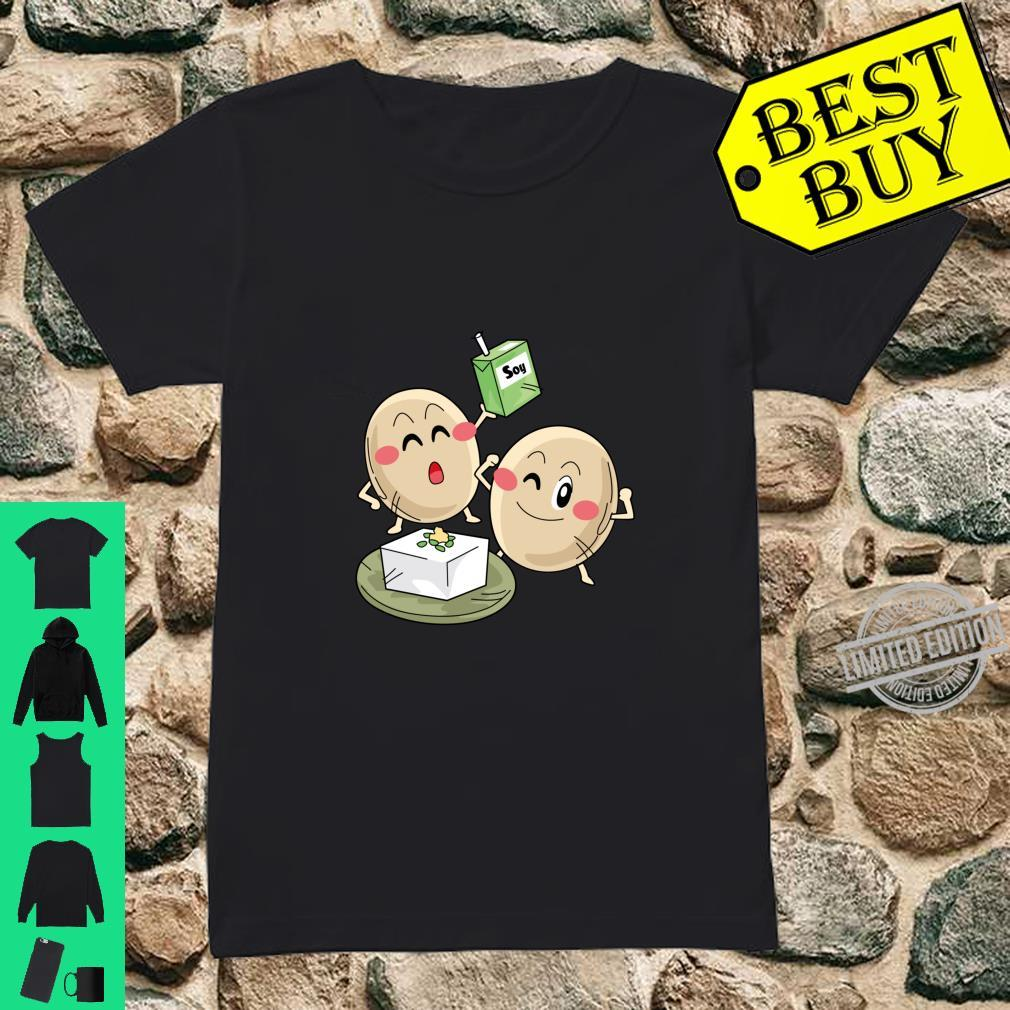 Funny Big Cartoon Soy Beans With Soy Milk Novelty Shirt ladies tee