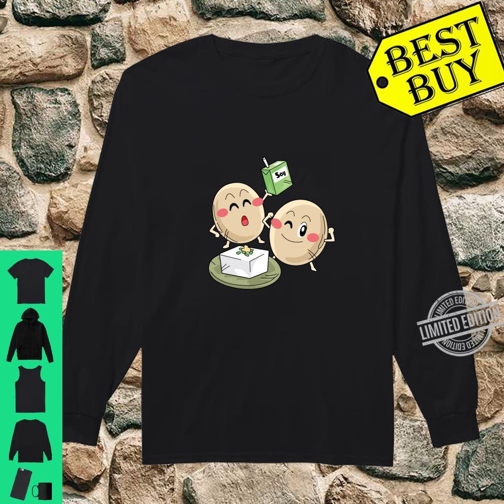 Funny Big Cartoon Soy Beans With Soy Milk Novelty Shirt long sleeved