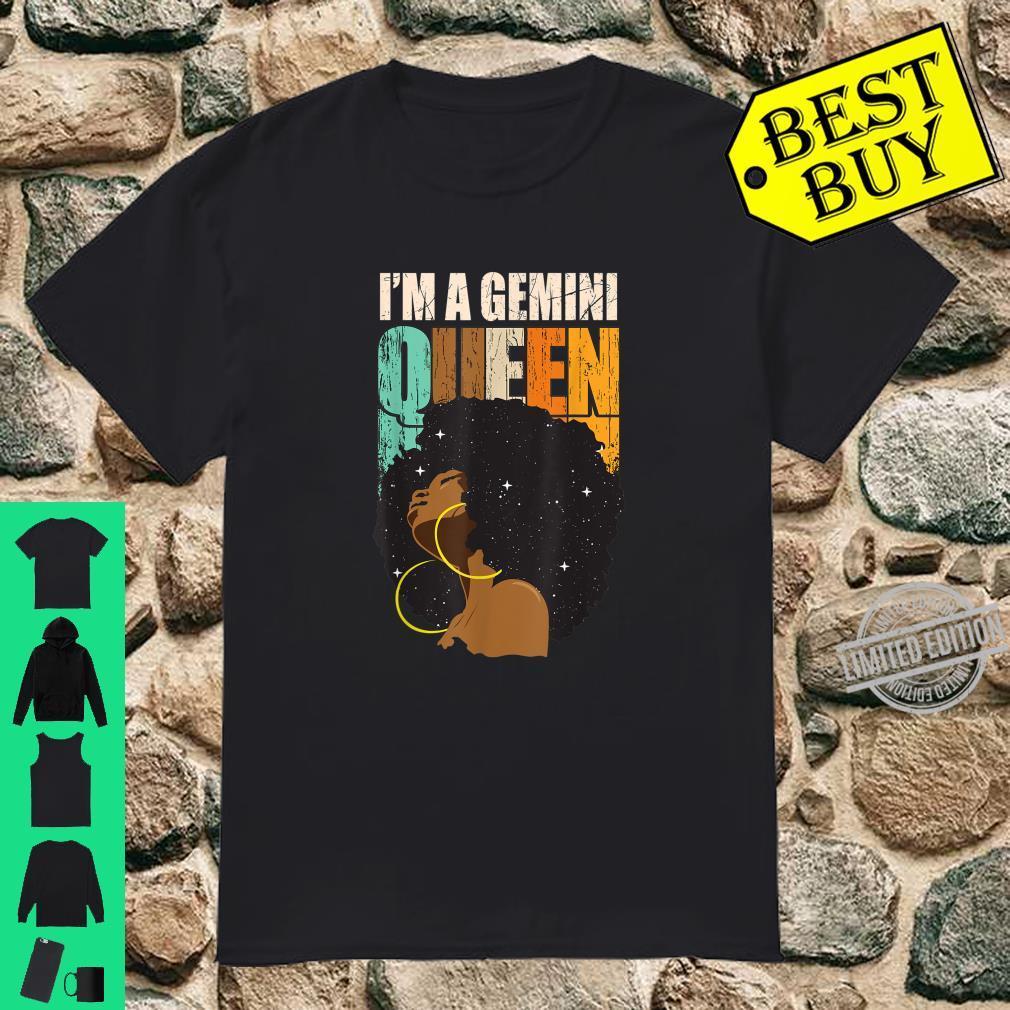 Gemini Girls Black Queen May June Birthday Shirt