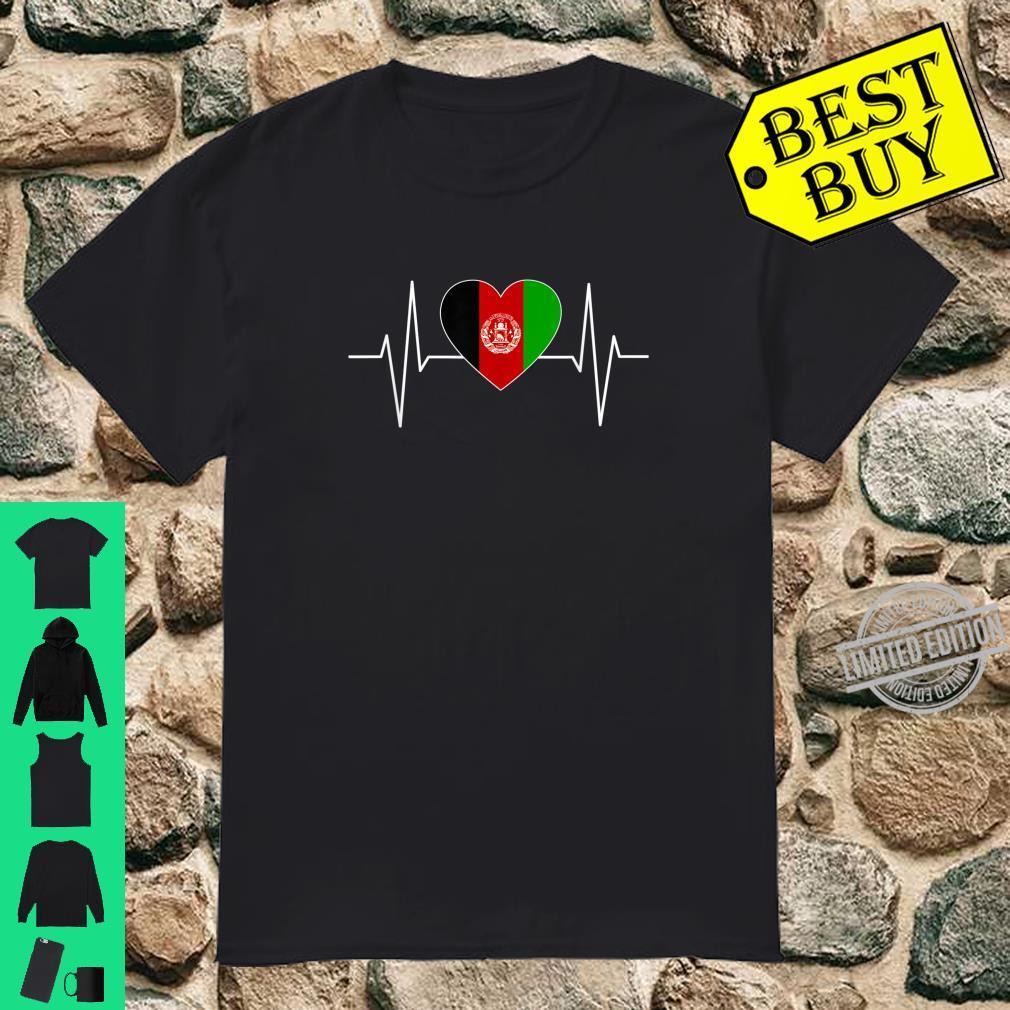 I Love Afghanistan Afghan Heartbeat Flag Pride Print Shirt
