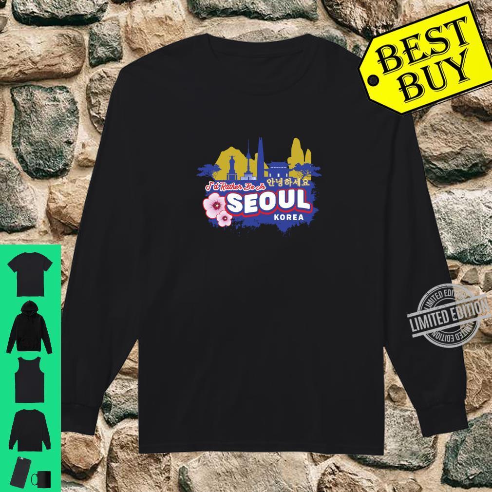Ich wäre lieber in Seoul Korea Vintage Souvenir Langarmshirt Shirt long sleeved