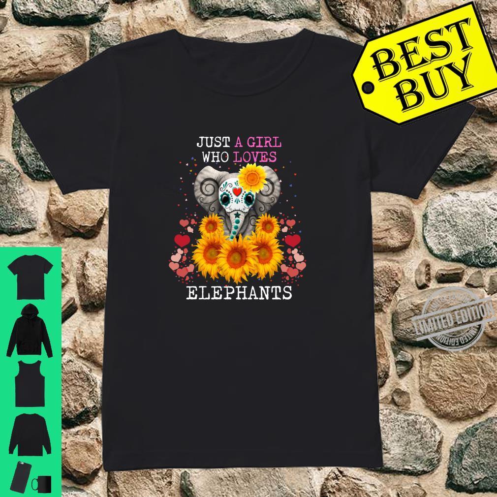 Just A Girl Who Loves Elephants Elephant Sunflower Shirt ladies tee