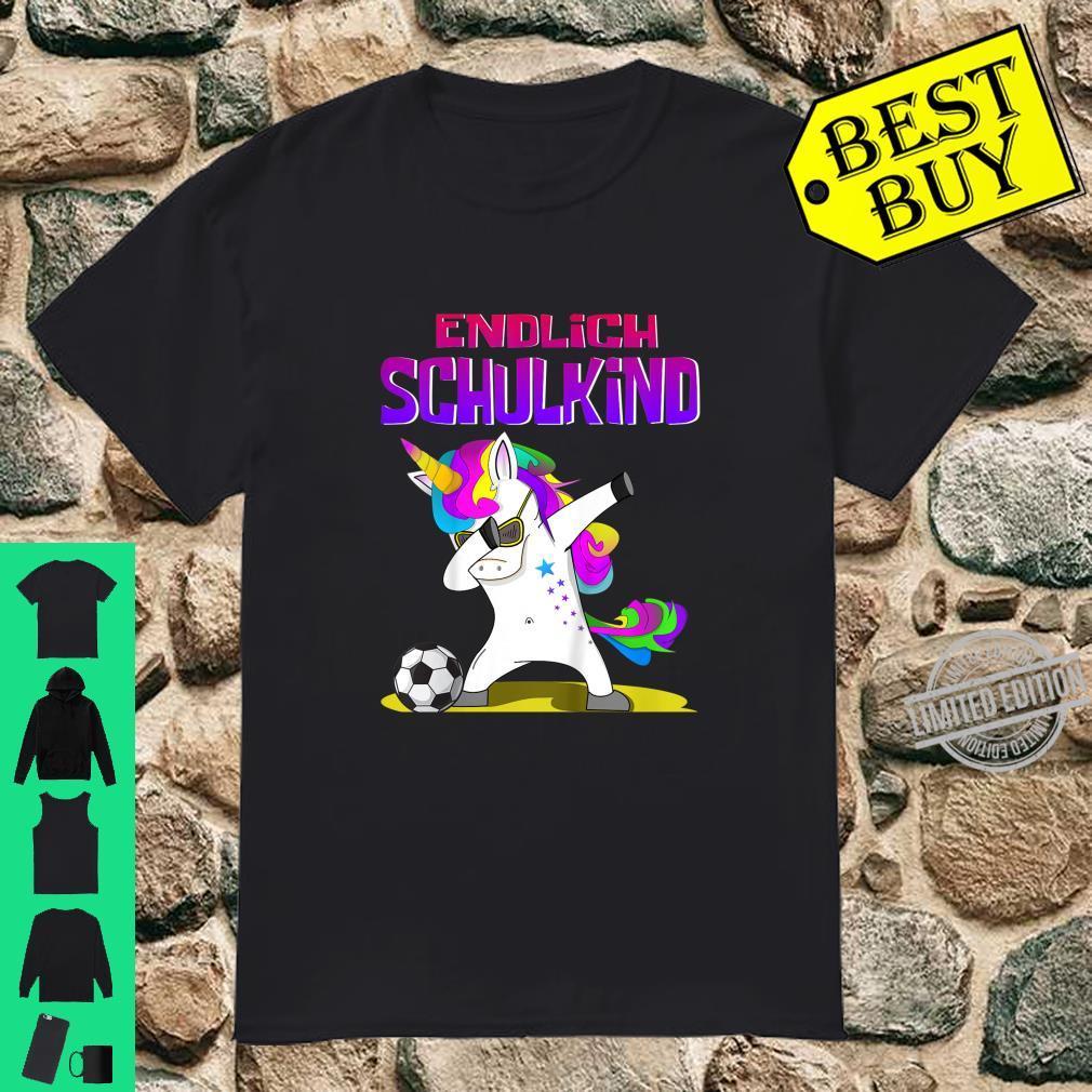Kinder Endlich Schulkind Einschulungs Design Dab Einhorn Fußball Shirt