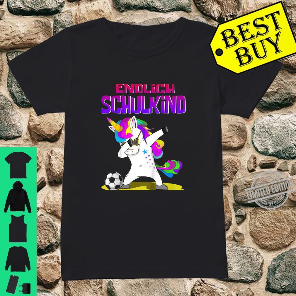 Kinder Endlich Schulkind Einschulungs Design Dab Einhorn Fußball Shirt ladies tee