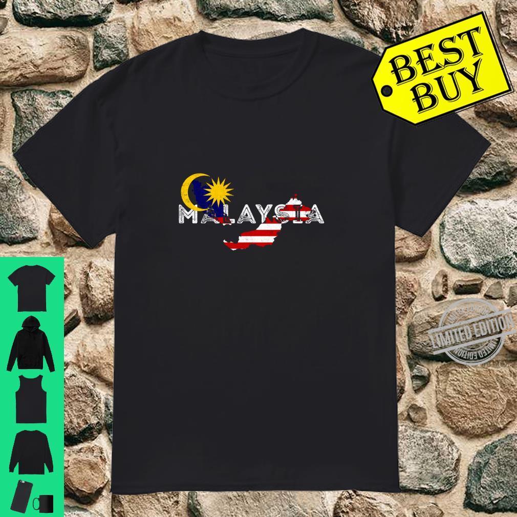 Malaysische Karte und Flagge Betrübt Malaysia Souvenir Langarmshirt Shirt