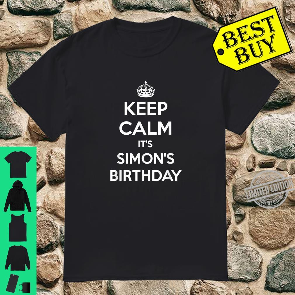 Mens Keep Calm It's Simon's Birthday Personalized BDay Shirt