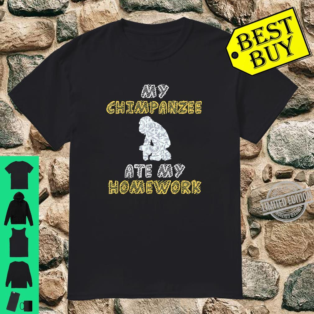 My Chimpanzee Ate My Homework Monkey Ape Kid Back To School Shirt
