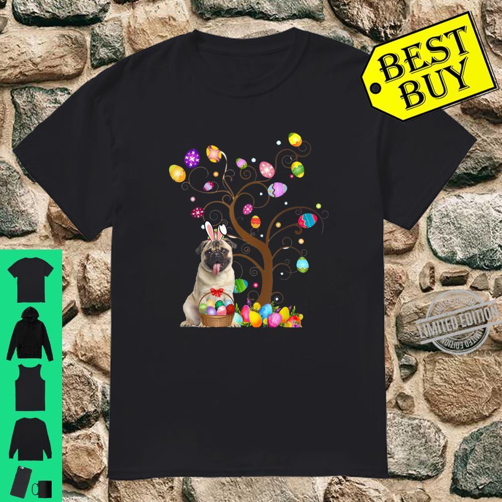 Pug Easter Day Pug Bunny Ears and Eggs Shirt