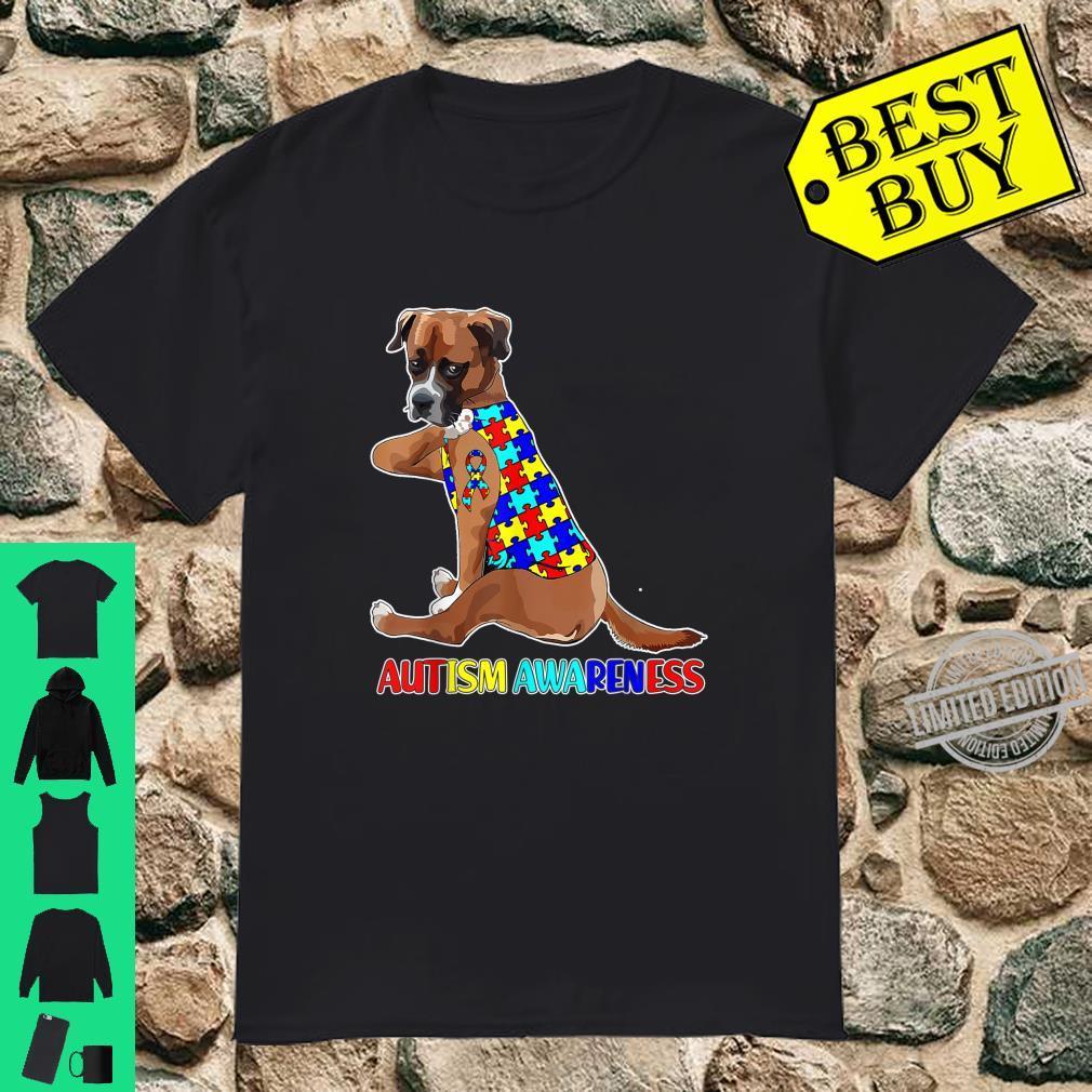 Puzzle Ribbon Boxer Dog Autism Awareness Shirt