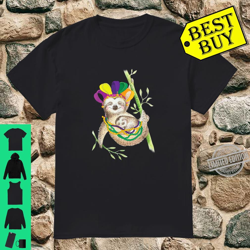 Sloth Jester Hat With Beads Mardi Gras Costume Shirt