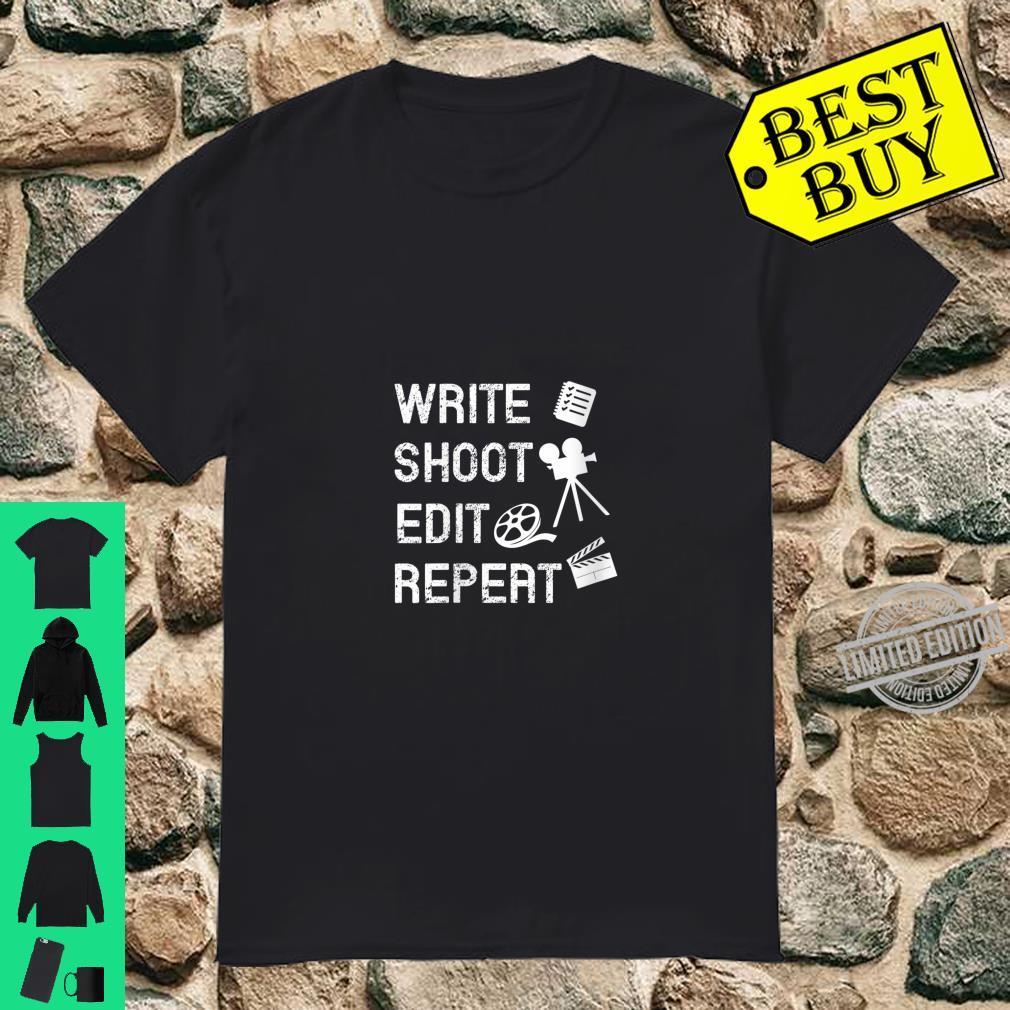 Womens Write Shoot Edit Repeat Movie Filmmaker Shirt